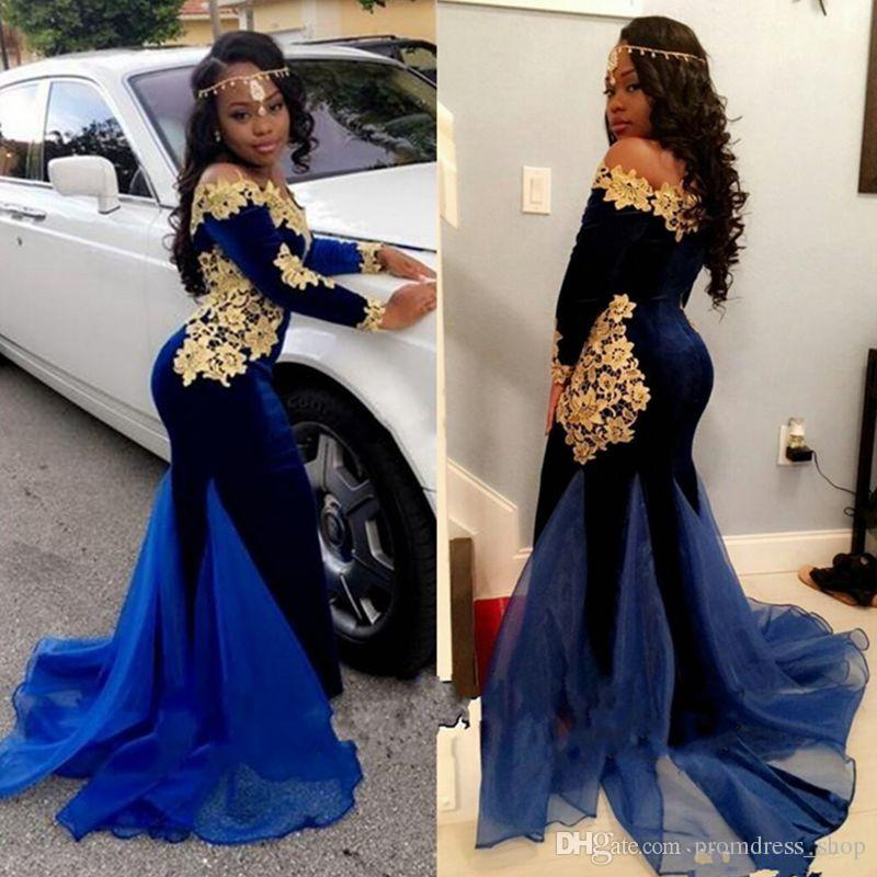 a942aed6ef Sexy Mermaid Navy Blue Velvet Prom Dresses With Gold Lace Flower Applique  Organza Designer Train Long Sleeve Party Dress Blue Prom Dress Champagne  Prom ...