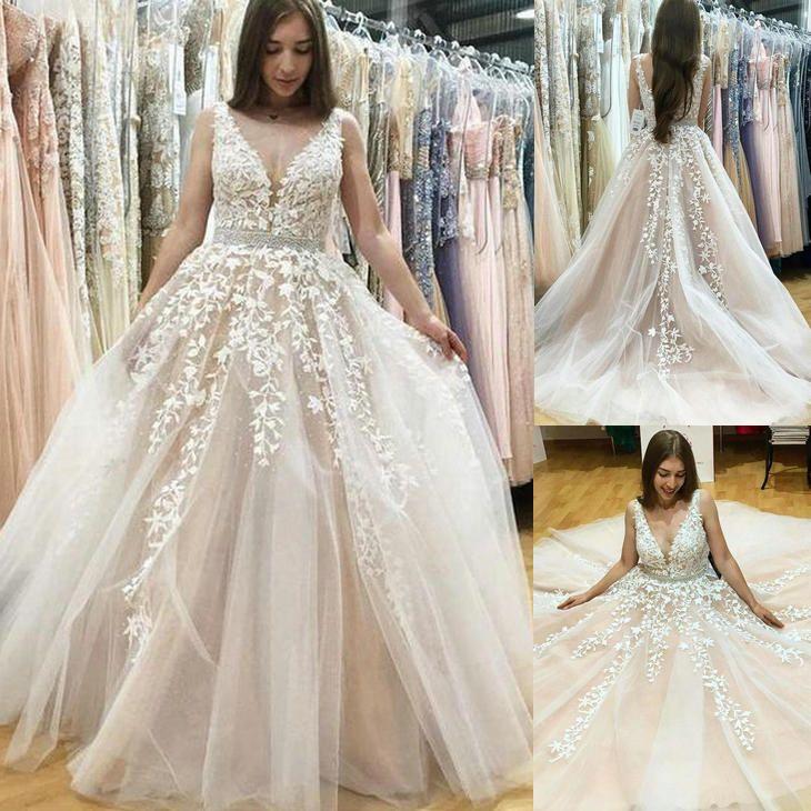 485874d8cdd14 Discount Wedding Dress Plus Size Wedding Dresses Elegant A Line V Neck Long  Tulle Backless Wedding Dress With Beading Appliques HS235 Halter Neck  Wedding ...