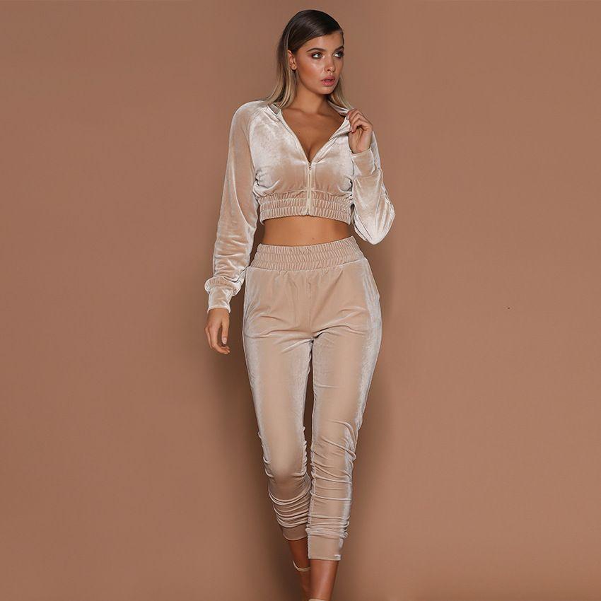 Frauen Mode Sport Sets Samt Jacken Kurze Ernte Top Hosen Anzüge Jogginghose Trainingsanzüge 2 stücke Outfits