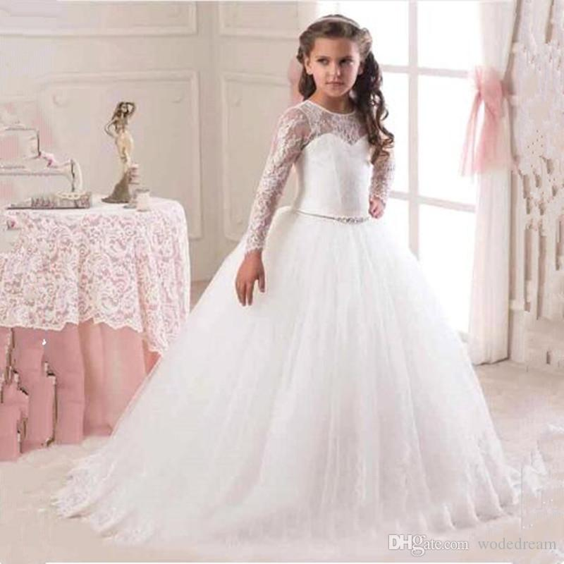 81d13fe83013f 2018 Lace Holy Communion Dresses Pageant Ball Gowns For Girls vestidos de  primera comunion Flower Girl Dresses With Long Sleeve