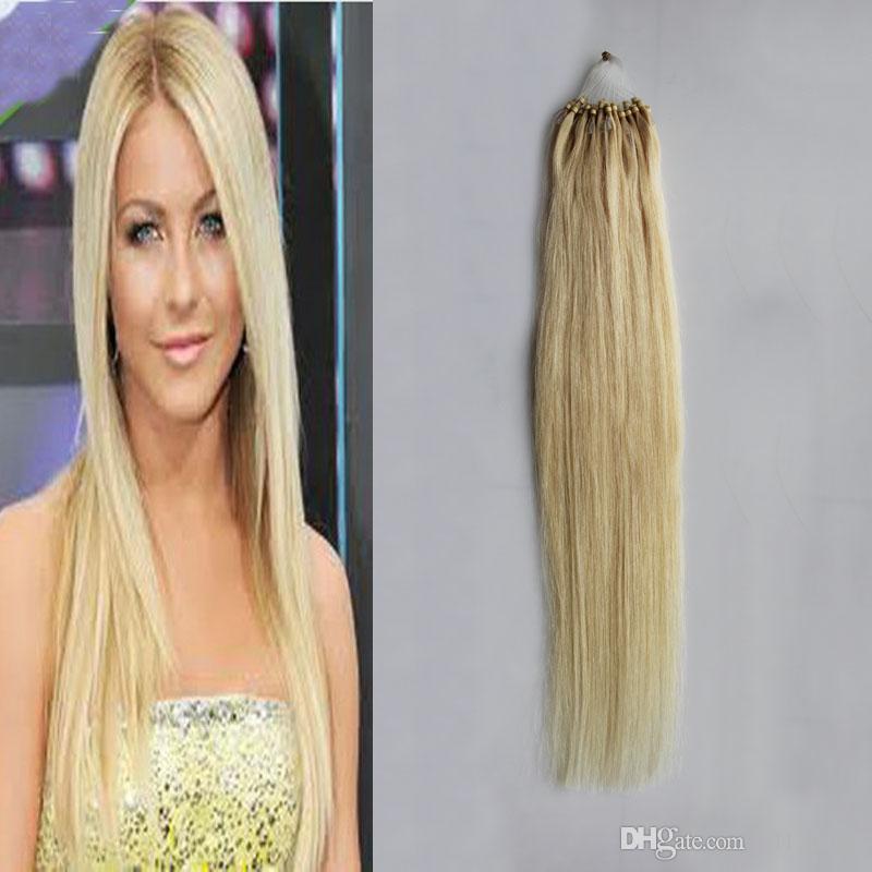 Micro Ring Human Bleach Blonde Hair Extensions Micro Loop Hair