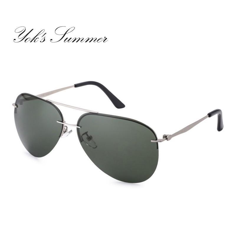 75ef7e63a6 Yok S Classic Men S Polarized Sunglasses Aviation Vintage Thin Metal Frame  Big Sun Glasses Driving Goggles Green Shades Oculos HL1000 Tifosi Sunglasses  ...