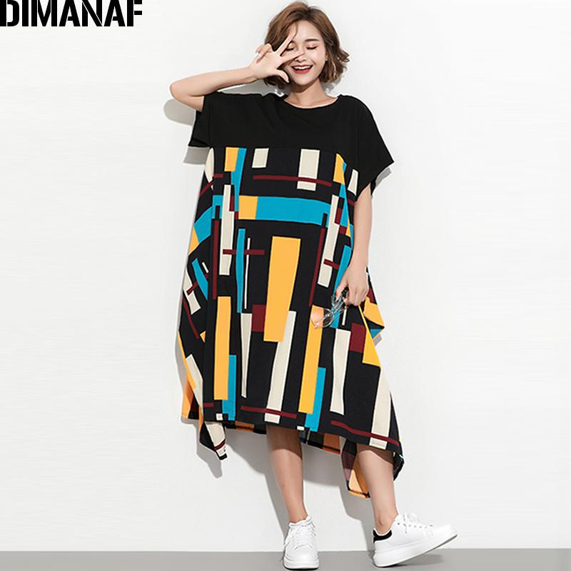 d07922111b9b DIMANAF Women Summer Dress Plus Size Sundress Clothing Female Lady Large  Big Vestidos Print Spliced Casual Oversized Loose Black Pink Dress Sundress  From ...