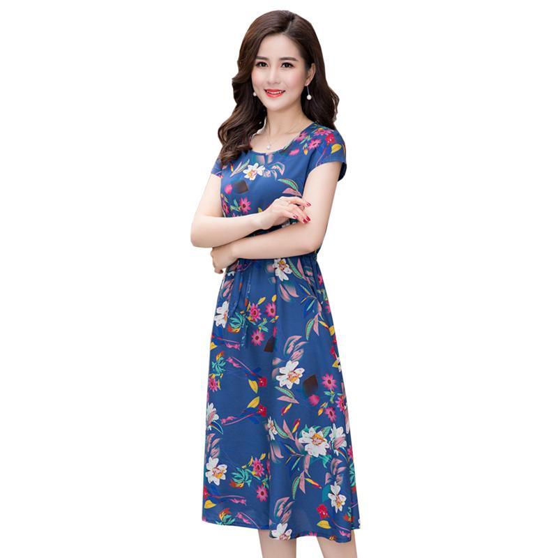 L-4XL 2018 abiti estivi donna di mezza età moda stampa allentato dress casual manica corta plus size long sundress vestidos