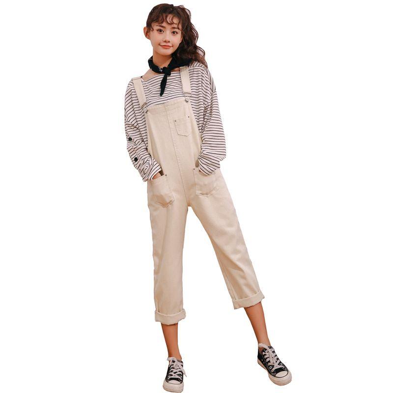 5383c8cfccea 2019 2018 Autumn Women Boyfriend Style Loose Overalls Solid Cotton ...