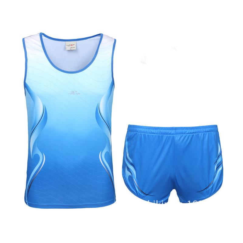 Men Running Sets 2017 Summer Breathable Track And Field Sportswear Sport Training Walking Away Marathon Athlete Fast Speed Suits