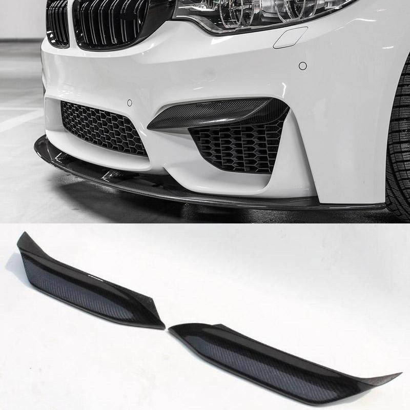 P Style Carbon fiber Front Top Lip Bumper Inserts Fit For BMW F80 M3 F82 F83 M4