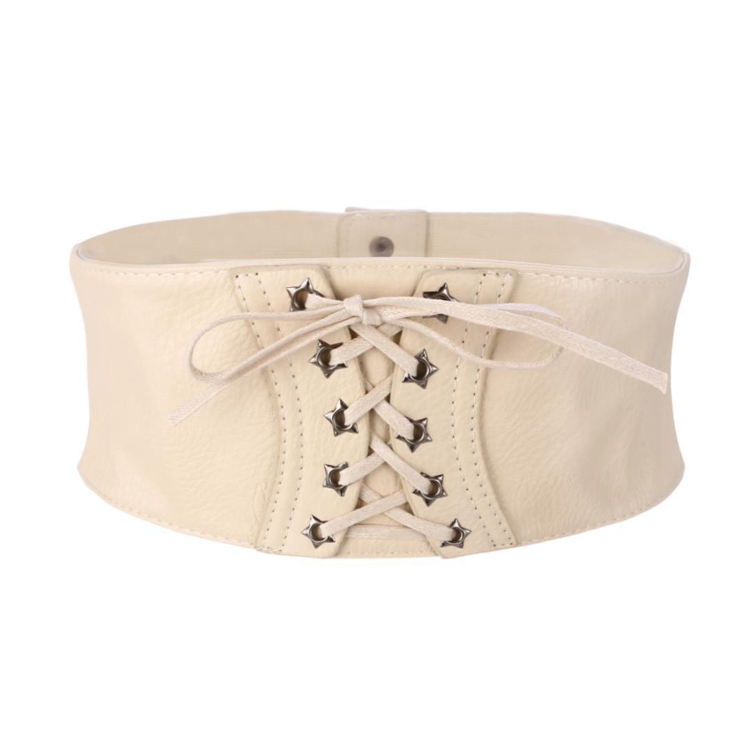Moda da donna in ecopelle larga elastica cintura in vita con fibbia