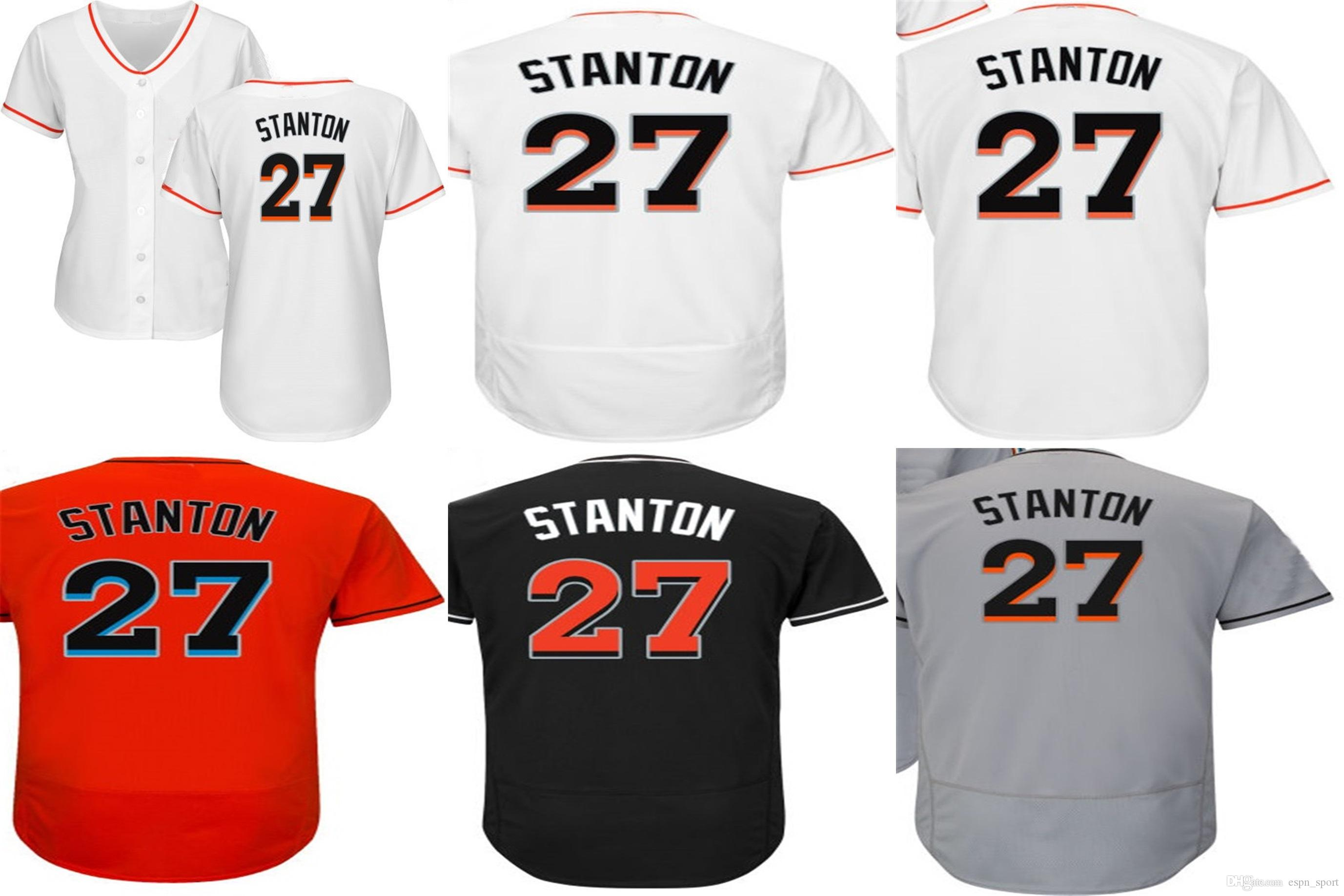 4ec17a3ec 2015 Miami Mens  27 Giancarlo Stanton Grey Orange White Black Cool ...