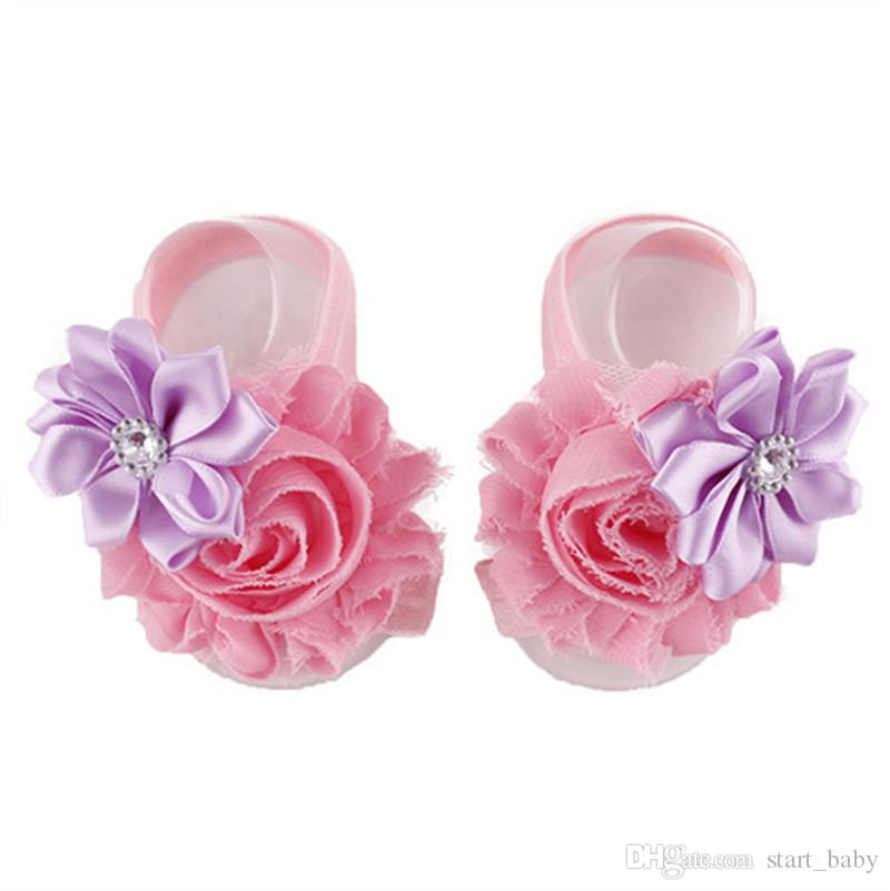 Toddler Baby Sandals Shabby Chic Flower Shoes Cover Barefoot Foot Flower Ties Infant Children Girl Kids Walker Shoes Photography Props B11