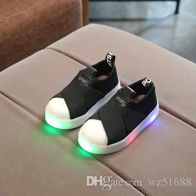 online retailer d0bf8 c53c2 Neue coole Mode Kinder Schuhe einfarbig Baby leuchtende Turnschuhe Sport  LED beleuchtete Kinder Mädchen Jungen Schuhe