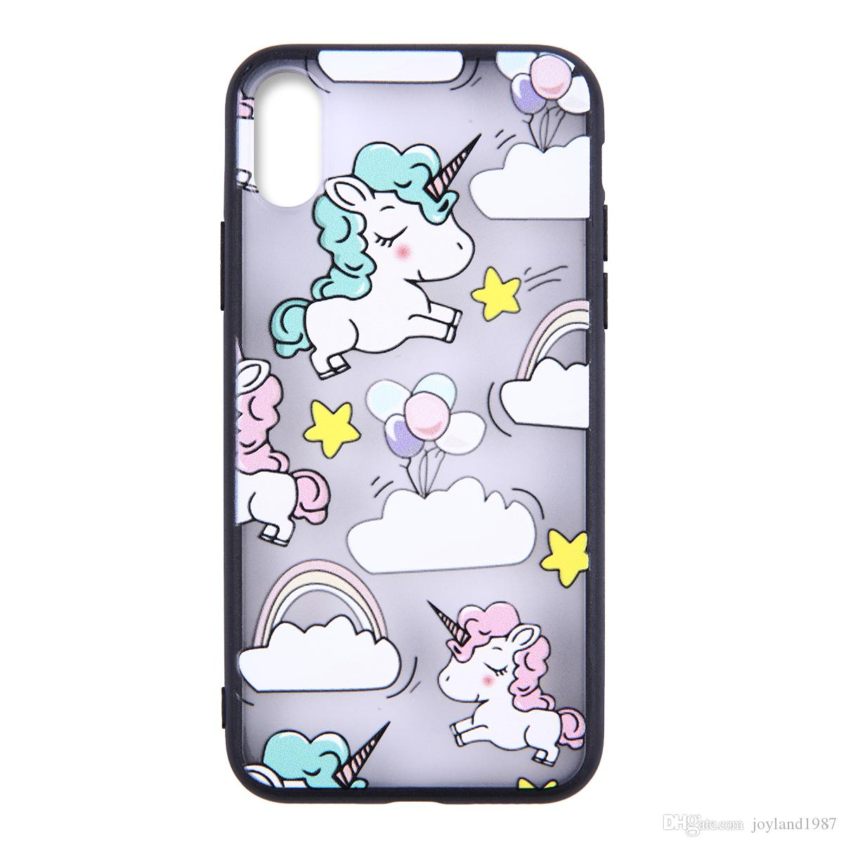 Cute Fashion Rainbow Unicorn painted Phone Case For iPhone 5 5s se 6 6S 6plus 7 7plus 8 8s plus X Company customized