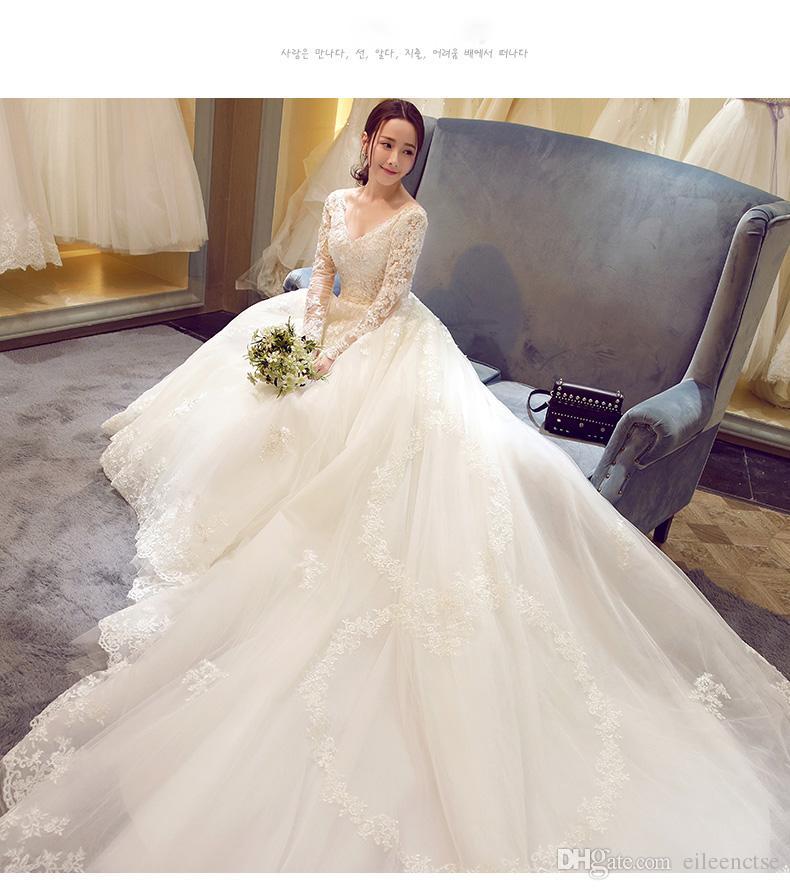 Artı boyutu gelinlik XXL / XXXL / XXXXL dantel V yaka çiçek şapkalı balo elbisesi uzun kollu şişman kadın gelinlik