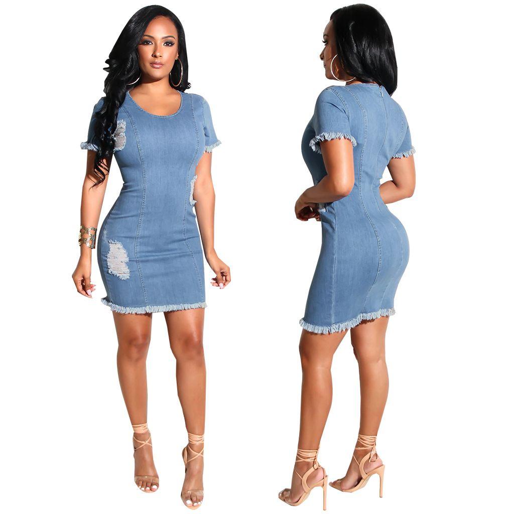 f44e019bc16c Women Stretch Denim Mini Dress Ripped Tassel Short Skirts Sexy Night Club  Breif Blue Casual Dress Skinny Jean Skirt 2018 Women Clothes Party Dresses  Online ...