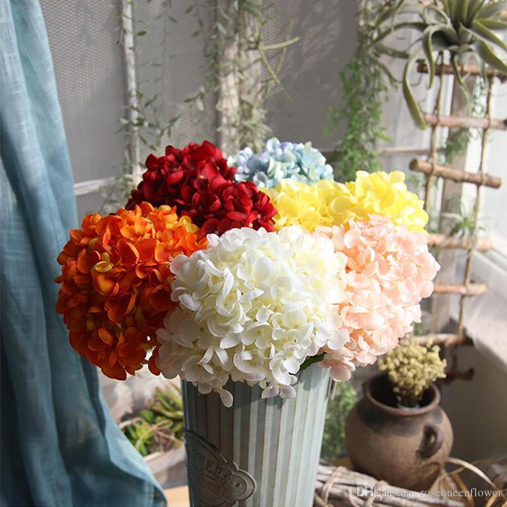 2018 Artificial Hydrange White Bouquet Flowers Hydrangea Silk Flower