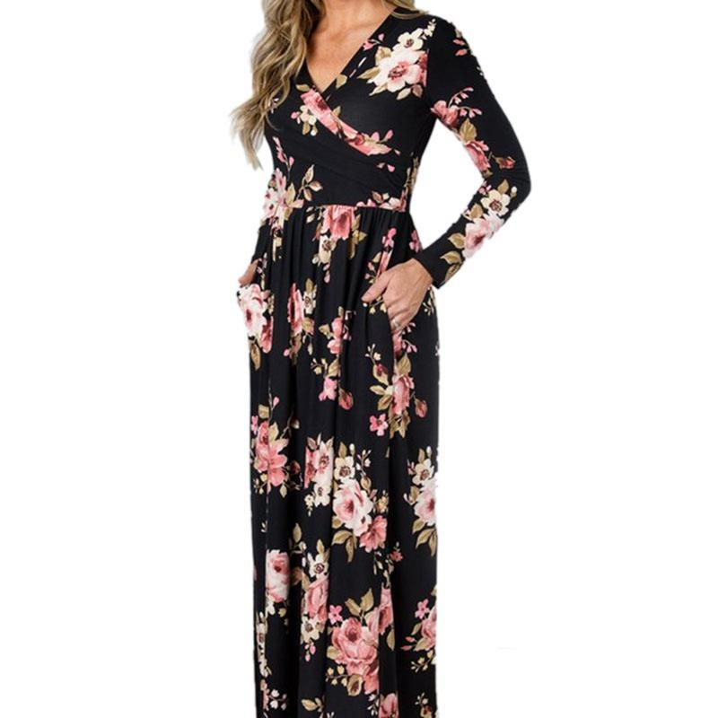 d138f5abaa 2019 Women V Neck Sexy Plus Size Sweet Floral Print Petal Long Sleeve  Dresses High Waist Casual Slim Autumn Long Dress From Wuyasi
