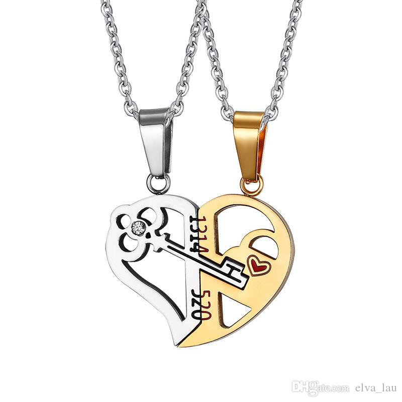 Wholesale key lock heart shaped necklace for women men gold and wholesale key lock heart shaped necklace for women men gold and black stainless steel pendant couple necklaces lover friendship jewelry set rose gold aloadofball Image collections