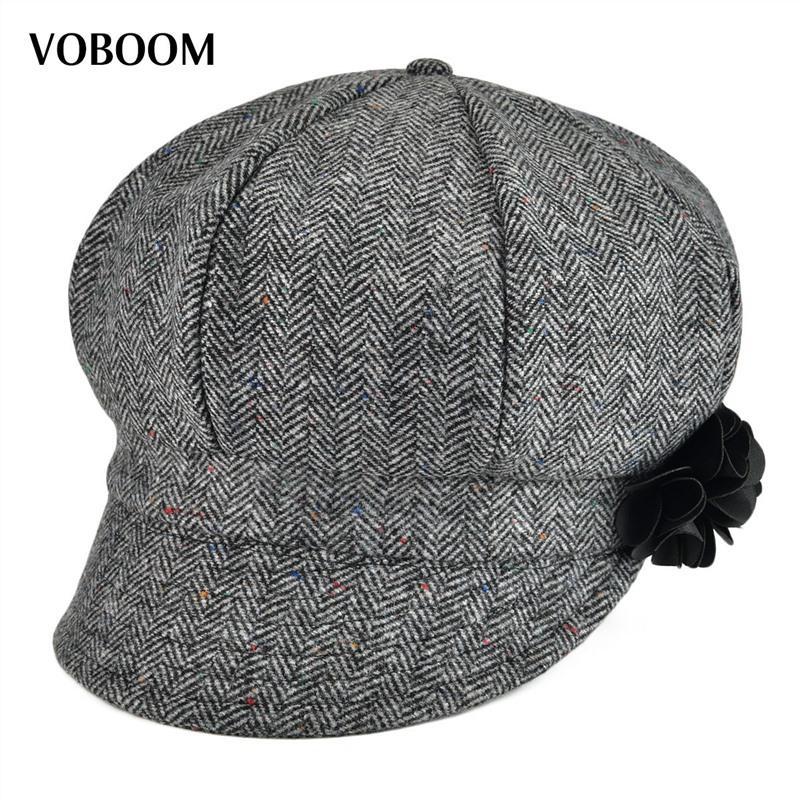 2019 VOBOOM Women Lady Newsboy Cap Soft Woolen Herringbone Girls Hat 171  From Value111 b7782cd6e9c