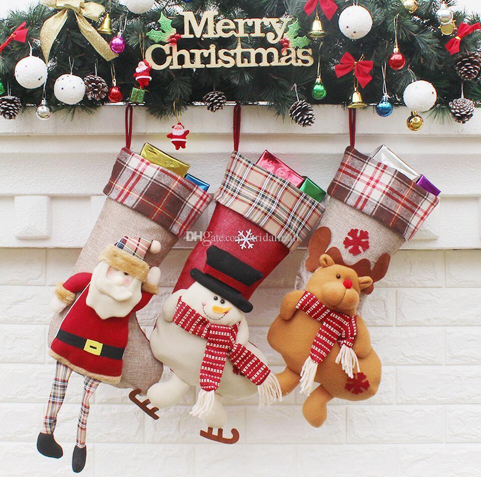5f251f491 Hot Sale Christmas Santa Claus Socks Gift Bag Christmas Snowman ...