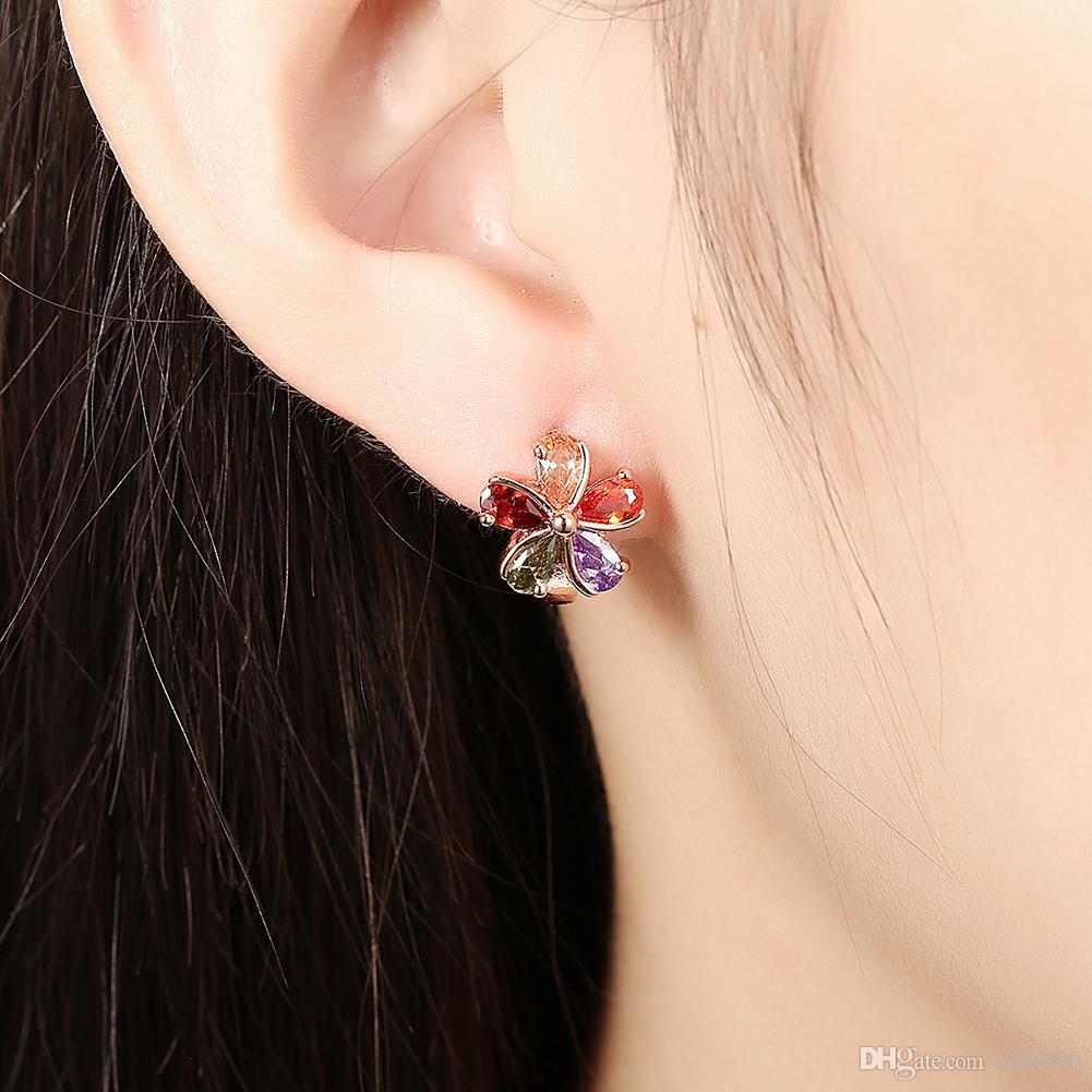 Vente chaude 18 K Rose Plaqué Or Fleur Clip Boucles D'oreilles avec Zircon Mode Classique Parti Bijoux Pour Les Femmes De Noël Cadeaux Livraison Gratuite