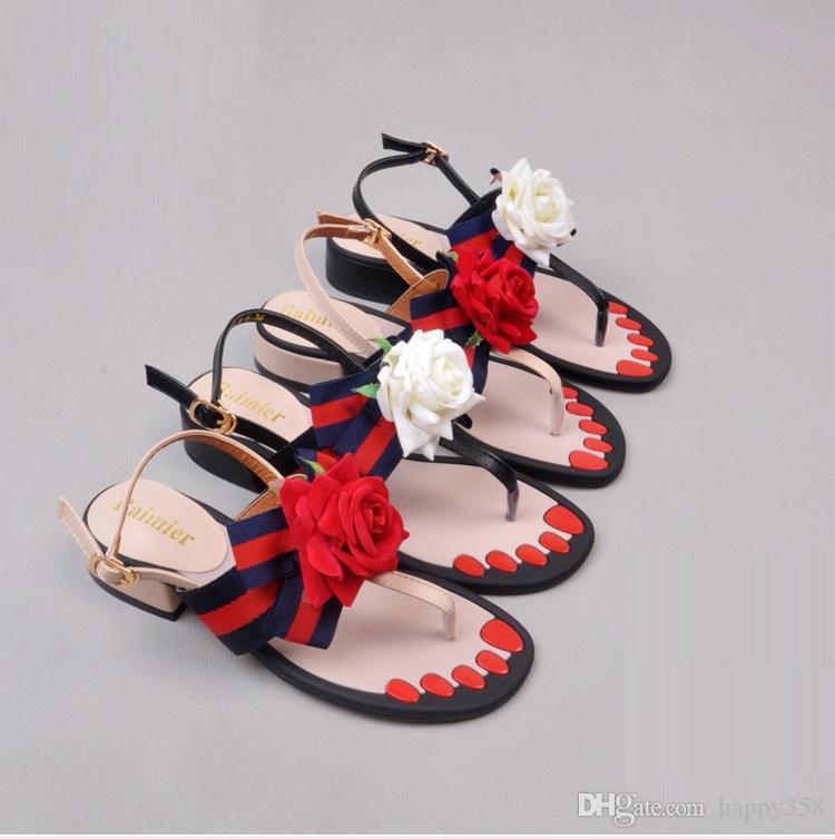 CHAUD! Europe Amérique Mode femmes sandales Party avec bowknot thong ruban fleurs plates femmes sandales