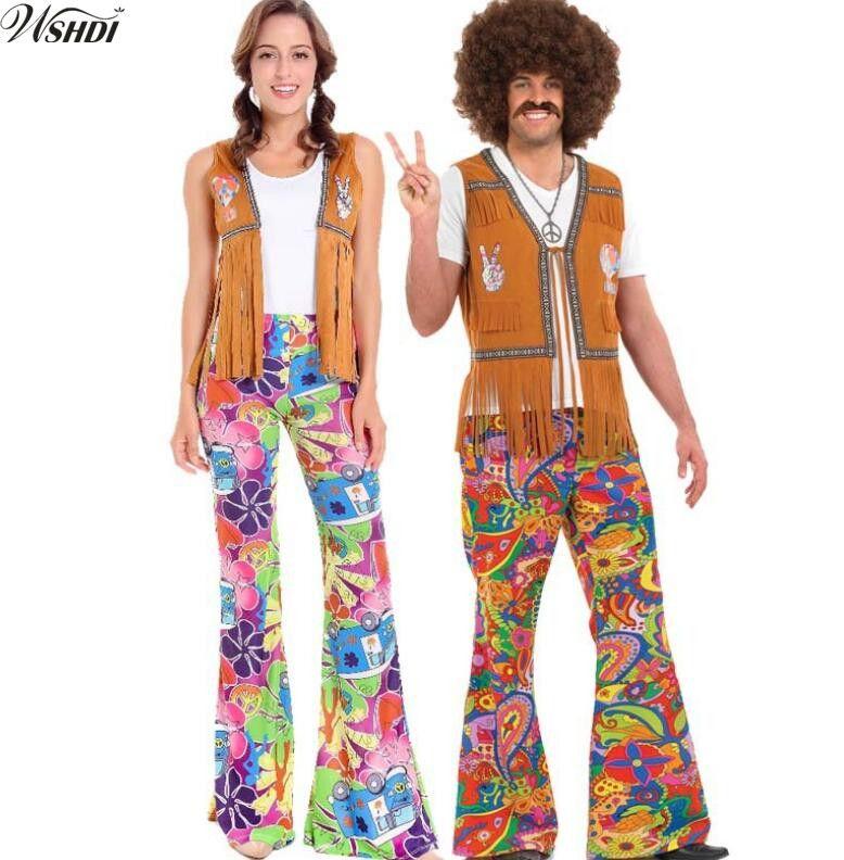 305dbf5eed Señoras Para Hombre 60 S 70 S Retro Hippie Go Go Girl Disfraz Disfraz  Disfraz Hen Xmas Party Couple Costumes A  39.12 Del Extend38