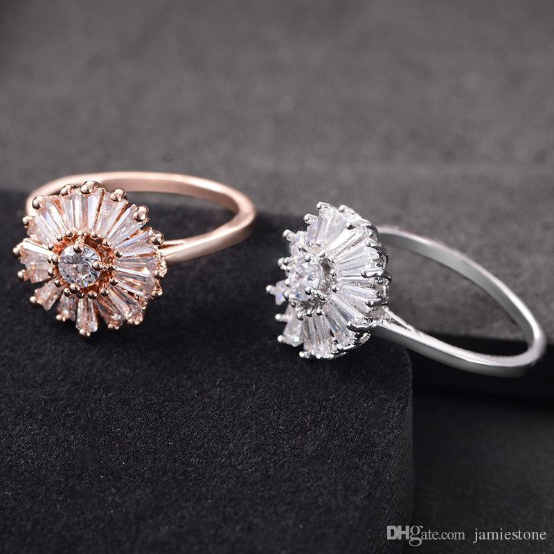 Massen-Art- und Weiseschmucksache-China-einfacher Entwurfs-Verlobungsring cz Diamant-Blumen-Ring
