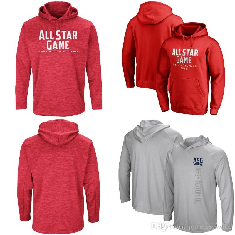2018 All Star Game Pullover Hoodie Mens American National League Team World USA Baseball Sweatshirts Red Grey Fast Shipping