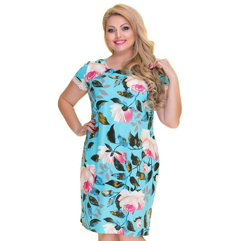 6105cab5e07 Casual Short Sleeve Printed Women Dress Summer Clothes For Women 2019 Plus  Size Dresses For Women 4xl 5xl 6xl Ladies Midi Dress Blue Lace Maxi Dress  Women ...