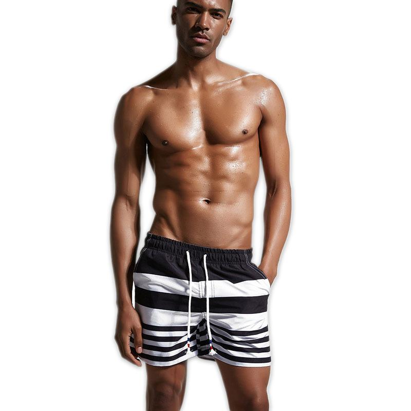 Summer cozy beach shorts men sexy striped sleep bottoms for male homewear sheer mens short pants