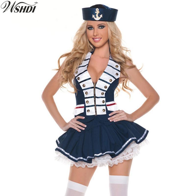 73e767bd5 Compre Mulheres Sexy Bonito Marinheiro Traje Marinha Náutica Marinha Trajes  Adulto Halloween Partido Fancy Dress Cosplay Sailor Uniformes Jogo De  Carawayo