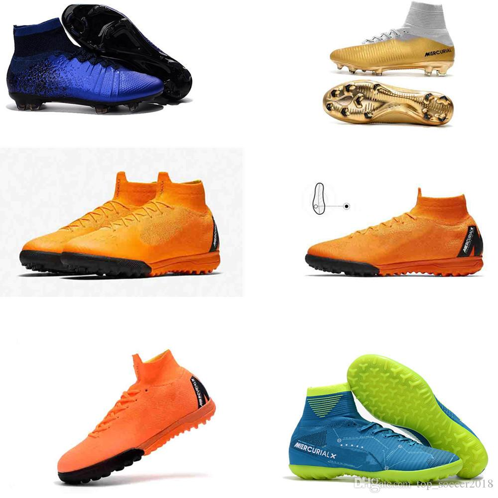 big sale 7cfc3 cb5eb 2019 2017 New Mercurial SuperflyX 6 Elite FG TF Womens Mens Soccer Shoes  Turf Soccer Cleats Boys Football Boots Fire ICE From Top soccer2018, ...