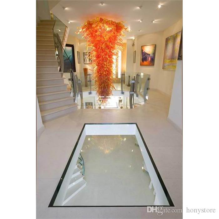 الحجم كبير في مهب زجاج مورانو الثريا الديكور المنزلي رخيصة الثمن LED الزجاج المنفوخ الذهبي كريستال الثريا