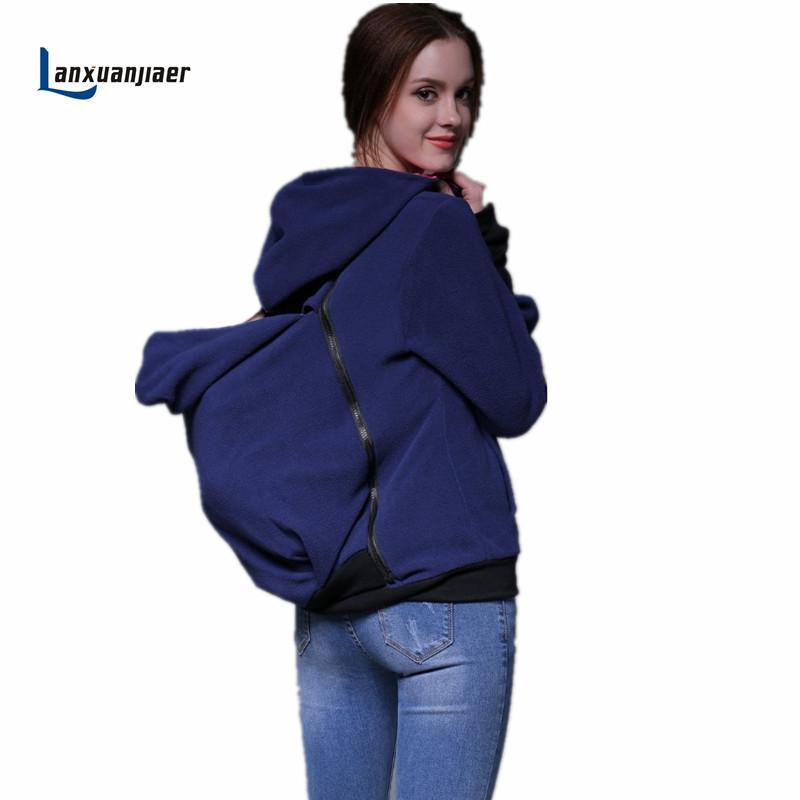 26b3d04a1 Compre Lanxuanjiaer Multifuncional Canguru Maternidade Pullover Camisola  Moletom Com Capuz Casaco Pai Mãe E Bebê Transportadora Casaco De Breenca