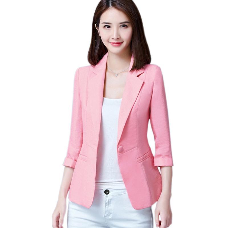 Blazers 2017 New Fashion Single Button Blazer Women Suit Jacket Green White Black Pink Blue Blaser Female Blazer Femme D0338