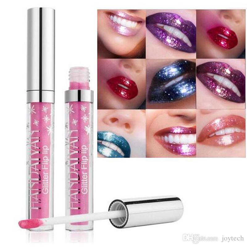 HANDAIYAN brillo de labios es Diamond Shine lápiz labial metálico de larga duración líquido Glitte lip gloss cosméticos a prueba de agua DHL envío gratis