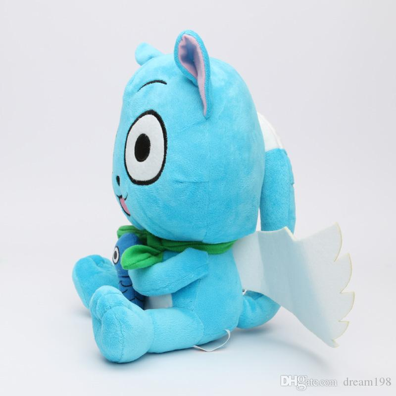 "New Super Cute Fairy Tail Blue happy Cat Cartoon Plush Toy Stuffed Toy Doll Gift For Kids Size : 6"" 15cm  DR2"