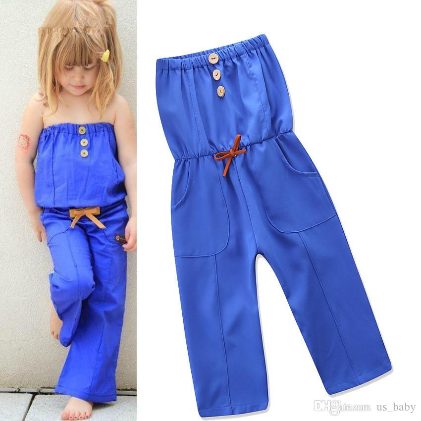 9a205b79fb1 2019 INS Baby Girls Blue Jumpsuit Toddler Sping Summer Pants Romper  Sleeveless Playsuit Baby Clothing For 1 5T From Us baby