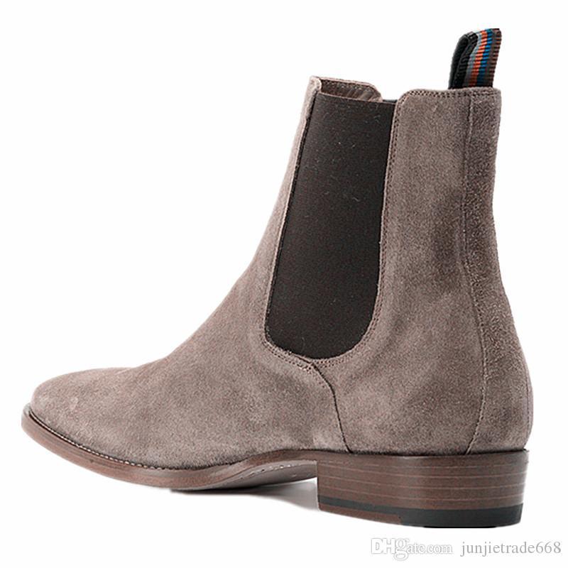 جديد إنجلترا أشار تو أحذية الرجال الأحذية الفاخرة مصمم الترفيه جلد طبيعي جلد الغزال وايت هاري الدينيم كاوبوي سليم الأحذية الغربية
