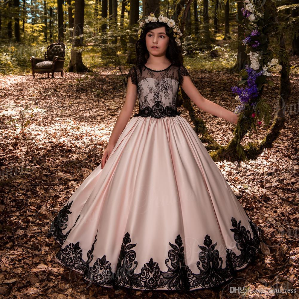 Großhandel Little Black Flower Girl Kleider Für Hochzeiten Spitze ...