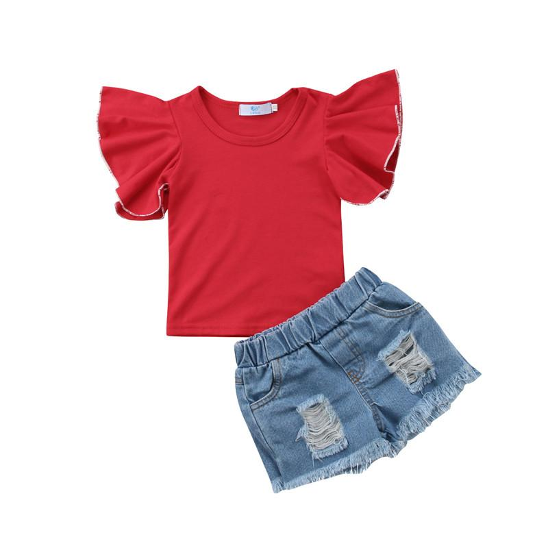 e3dfa47aaa 2019 Pretty Children Clothing 2018 New Kid Girl Short Sleeve Fly Sleeve  Tops T Shirt Denim Hole Jeans Short Pants Outfit Clothes 1 6Y From Coolhi