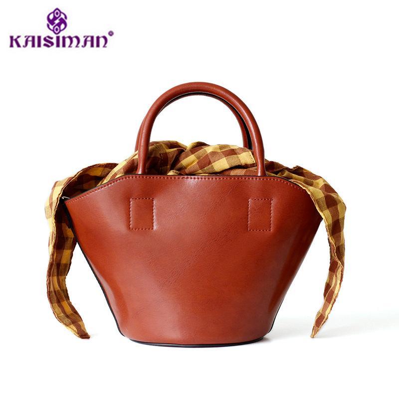 2018 Popular Genuine Leather Handbags Fashion Women Tote Bags Cow Skin  Bucket Bag Cow Leather Shoulder Bag Lady Shopping Sac Black Handbag Purses  Wholesale ... 03691e3b98494