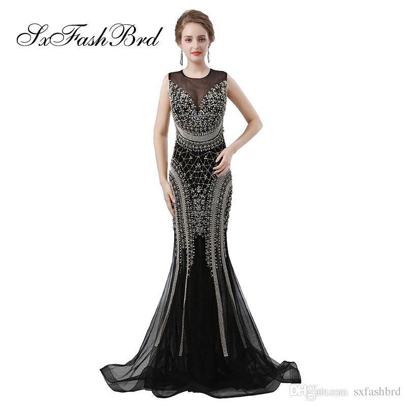 ba25c2312d1 Модные элегантные девушки одеваются O-образным вырезом с открытой спиной  русалка с тяжелыми побрякушками длинные вечерние вечерние платья для женщин  платья ...