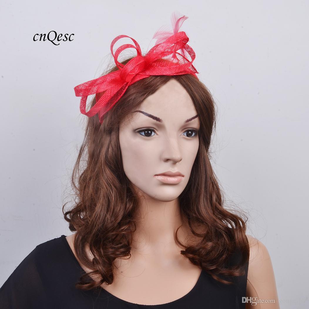 eca2387102b Red Simple Feather Fascinator Sinamay Loop For Kentucky Derby Wedding Hat  Bride Hat Cloche Hats Uk From Gongqiuli