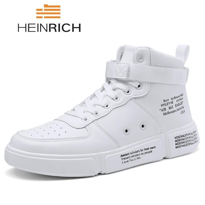 eeb67ae91f668 Compre HEINRICH Zapatos De Moda 2018 Hombres Zapatillas Altas Zapatos Con  Cordones Para Hombre Zapatos Ocasionales De Cuero De La PU Hombres Calza  Deportivo ...