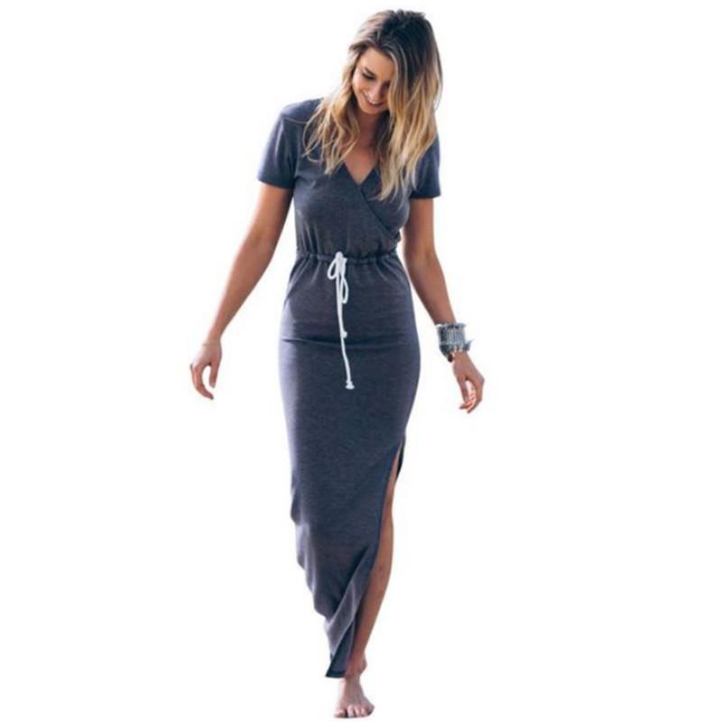 Vestido De Las Mujeres Personalidad Delgado Línea De La Cintura Lápiz Maxi Vestido De Manga Corta Corbata Cintura Lápiz Vestido Largo Corte Ocasional