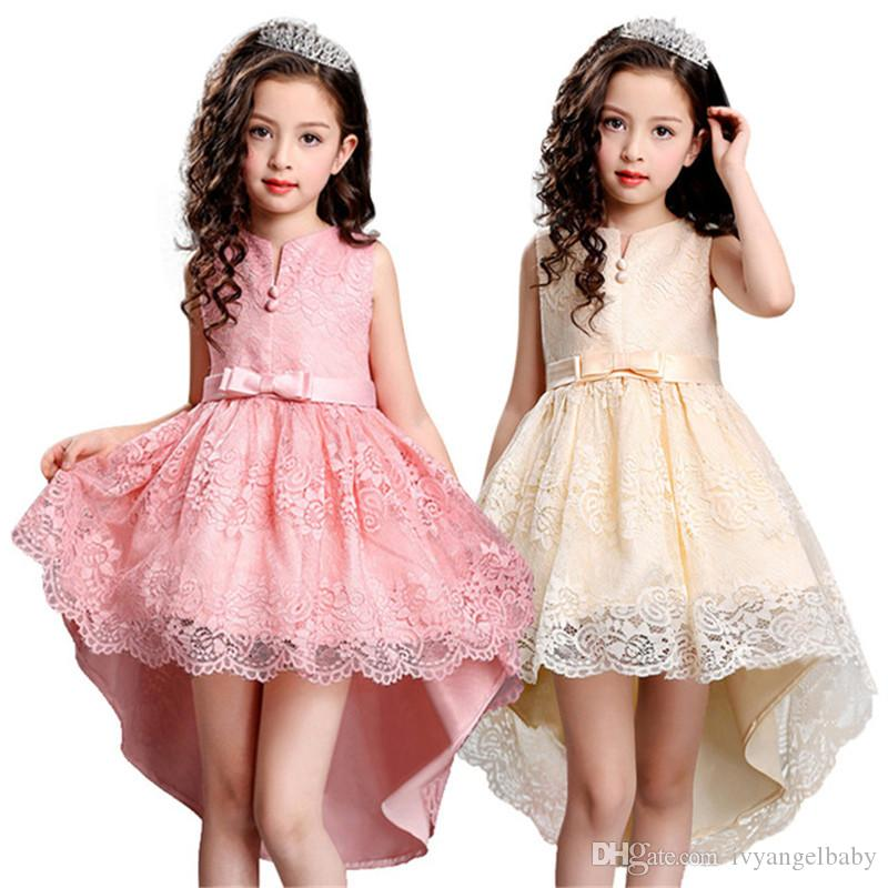 Kids Girls Elegant Wedding Flower Girl Dress Princess Party Pageant Formal Long  Dress Sleeveless Lace Tulle Dress 2-14 Y Wedding Dress Big Girls Clothes ... 50c87ec1e344