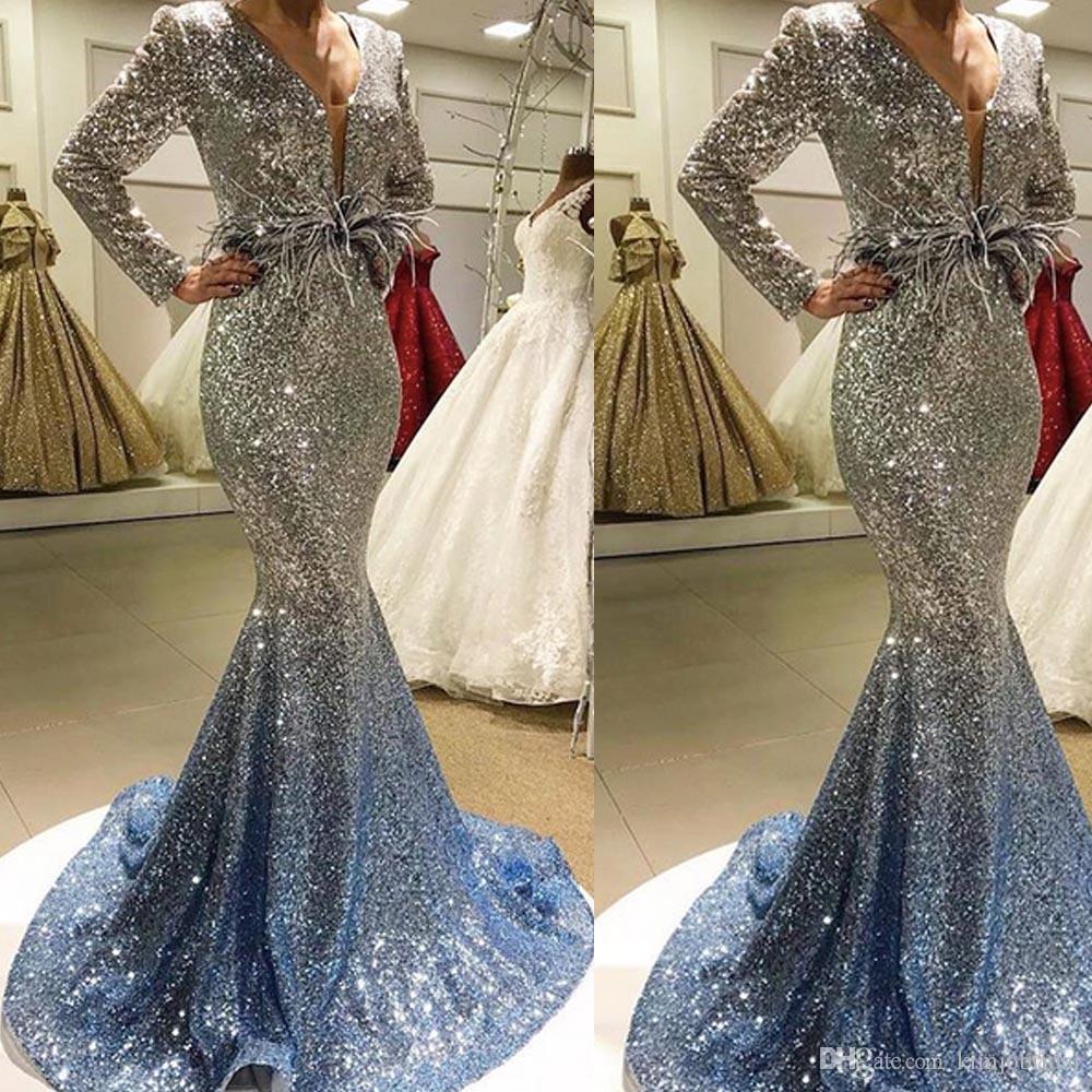großhandel 2018 bling bling ballkleider mit v ausschnitt langarm  meerjungfrau hofzug sparkly abendkleider lang von kimjobridal, 171,91 € auf