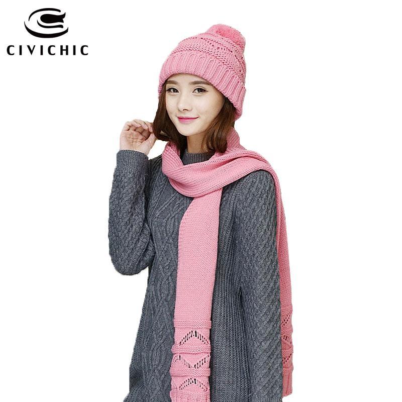 Compre CIVICHIC Otoño Invierno Sombrero De Punto Bufanda Estilo Coreano  Conjunto Cálido Hollow Out Crochet Shawl Pompon Gorros Solid Headwear SH157  A  32.24 ... 0a6c4467d55