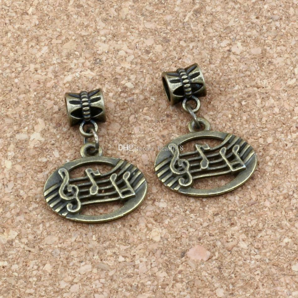 100pcs/lot Dangle Antique bronze Musical note Charm Big Hole Beads Fit European Charm Bracelet Jewelry 19.8x28mm A-293a